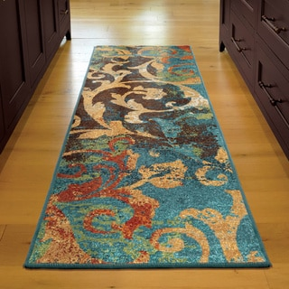 Vibrance Collection Watercolor Scroll Multi Olefin Area Rug (2'3 x 8')