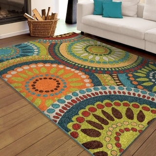 Carolina Weavers Indoor/Outdoor Cocamo Collection Color Spectrum Green Area Rug (6'5 x 9'8)