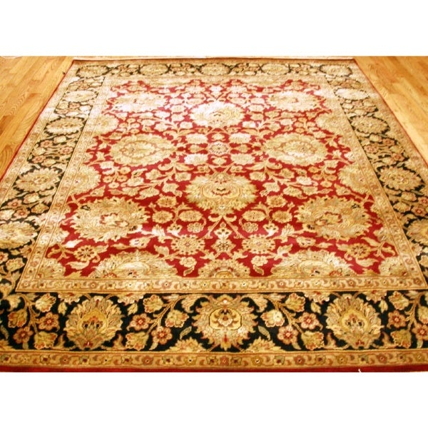 Hand Tufted Agra Red Gold Wool Rug 8 Round: Shop Pasargad Agra Hand-Knotted Red-Black Wool Rug (8' X