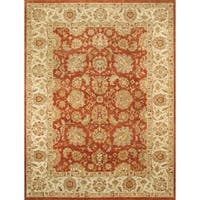 Pasargad Agra Hand-Knotted Red-Ivory Wool Rug (8' x 10') - 8 x 10