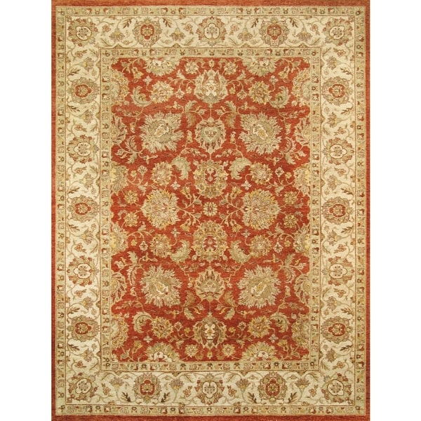 Hand Tufted Agra Red Gold Wool Rug 8 Round: Shop Pasargad Agra Hand-Knotted Red-Ivory Wool Rug (8' X