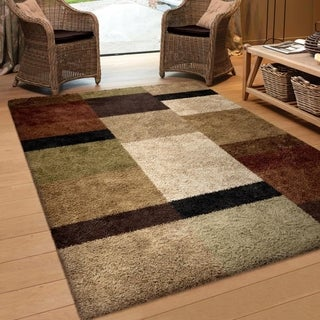 Carolina Weavers Riveting Shag Collection Treasure Club Multi Shag Area Rug (7'10 x 10'10)