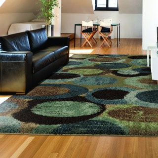 Carolina Weavers Dignified Shag Collection Mellow Bubbles Blue Area Rug (7'10 x 10'10)