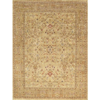 Pasargad Tabriz Hand-Knotted Beige-Gold Wool Rug (9' x 12')
