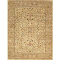 Pasargad Tabriz Hand-Knotted Beige-Gold Wool Rug (9' x 12') - 9 x 12
