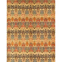 Pasargad Ikat Hand-Knotted Light Gold-Multi Wool Rug (10' x 14) - 10 x 14