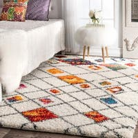 nuLOOM Soft and Plush Moroccan Color Burst Lattice Shag Multi Rug (6'7 x 9') - 6'7 x 9'
