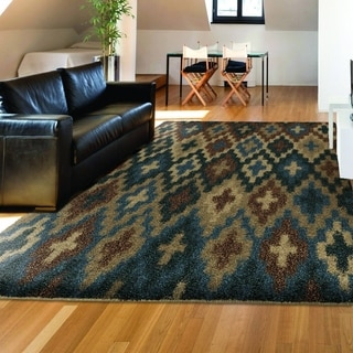 Carolina Weavers Shag Blue Spell Blue Area Rug (5'3 x 7'6)