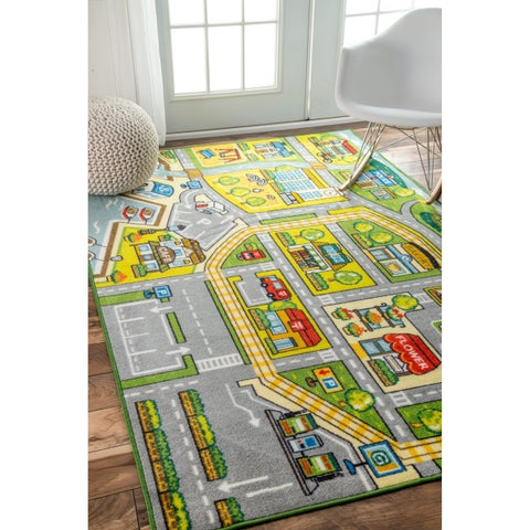 nuLOOM Contemporary Kids Fairytale Town Green Rug - 5' x 7'5