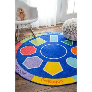 nuLOOM Contemporary Geometric Shapes Blue Kids Rug (8' Round)