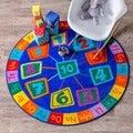 nuLOOM Contemporary Number Alphabet Circles Kids Blue Rug (5' Round)