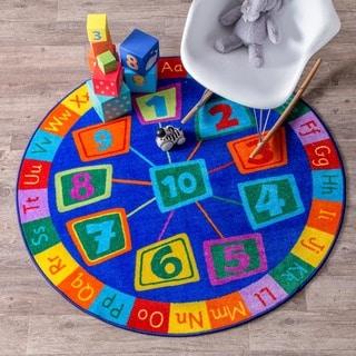 nuLOOM Blue Contemporary Number Alphabet Circles Kids Area Rug
