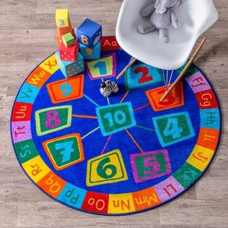 nuLOOM Contemporary Number Alphabet Circles Kids Blue 8 Foot Round Rug
