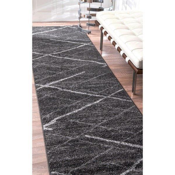 Nuloom Contemporary Striped Dark Grey Runner Rug 2 5 X 9