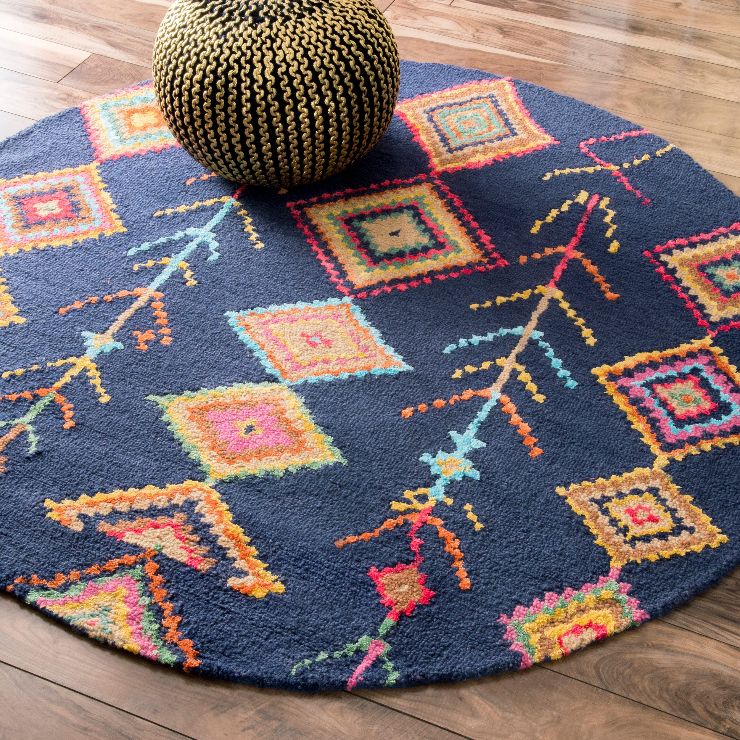 Nuloom Contemporary Handmade Wool Viscose Moroccan Triangle Navy 6 Foot Round Rug