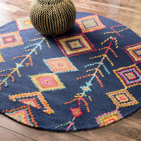 The Curated Nomad Escolta Handmade Moroccan Diamond Navy Area Rug (6' Round)