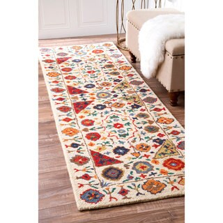 nuLOOM Multi Handmade Country Floral Border Wool Area Rug