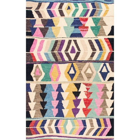 nuLOOM Multicolor Wool Handmade Tribal Arrowheads Area Rug