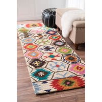 nuLOOM Handmade Southwestern Abstract Honeycomb Wool Cream Rug (2'6 x 8')
