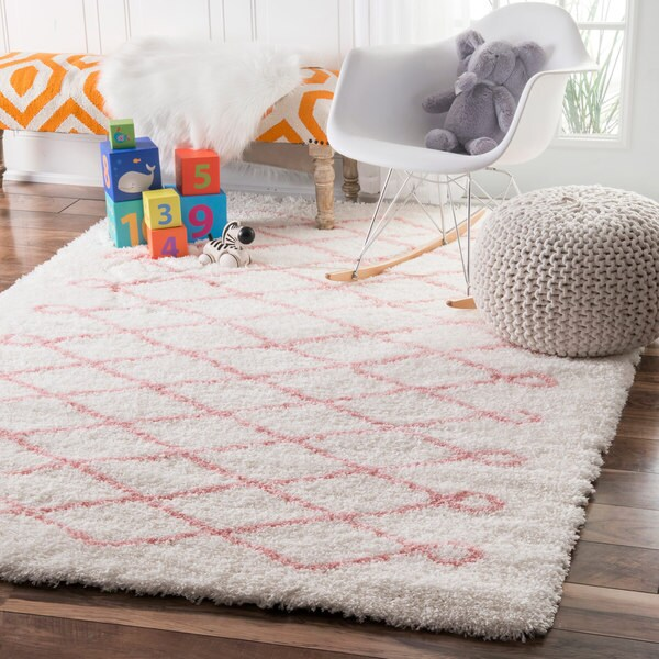 nuloom soft and plush cloudy shag diamond kids nursery baby pink rug 5 39 x 8 39 free shipping. Black Bedroom Furniture Sets. Home Design Ideas