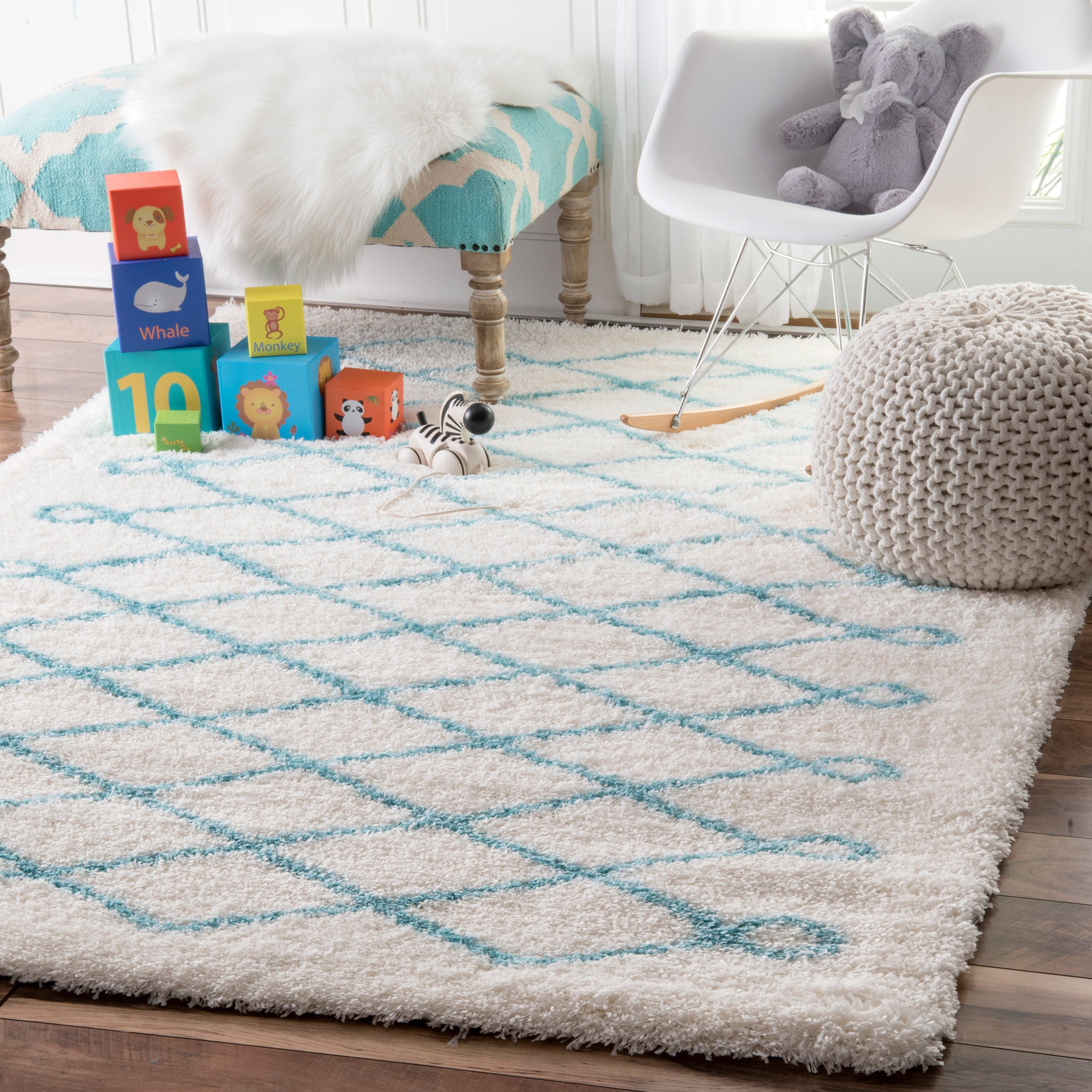 Nuloom Soft And Plush Cloudy Diamond Kids Nursery Baby Blue Rug 5 X27