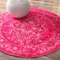 nuLOOM Traditional Vintage Inspired Overdyed Fancy Pink Rug - 5' Round
