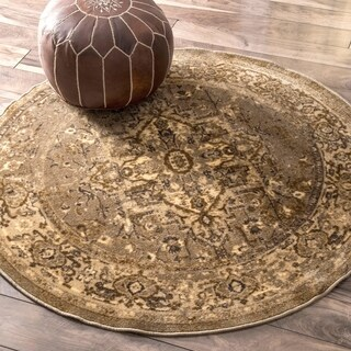 nuLOOM Traditional Vintage Inspired Overdyed Fancy Natural 5 Foot Round Rug