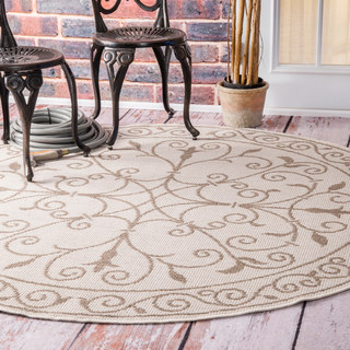 nuLOOM Wrought Iron Flourish Indoor/ Outdoor Beige Porch Rug (6'3 Round)