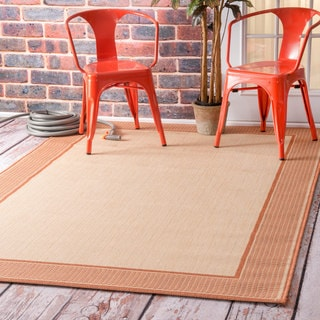 nuLOOM Two-Tone Border Indoor/ Outdoor Red Porch Rug (8'6 x 13')