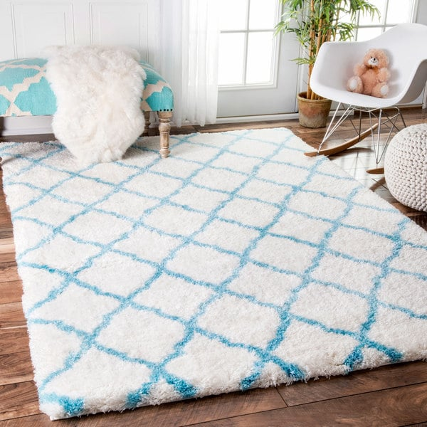 Shop NuLOOM Baby Blue Soft And Plush Cloudy Shag Trellis