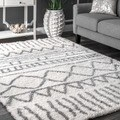 nuLOOM Soft and Plush Cloudy Shag Moroccan Geometric Grey Rug (5' x 8')