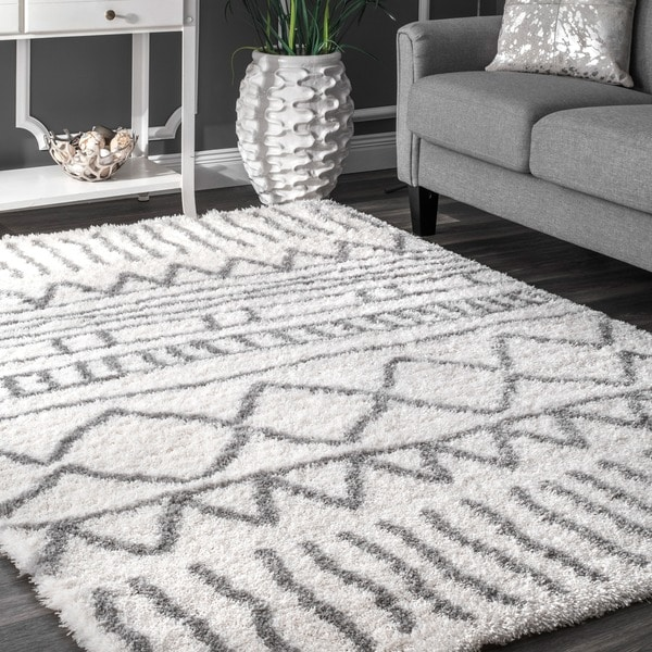 Nuloom Soft And Plush Cloudy Shag Moroccan Geometric Grey