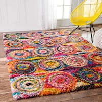 nuLoom Abstract Circles Multicolored Shag Contmeporary Area Rug (5' x 8')