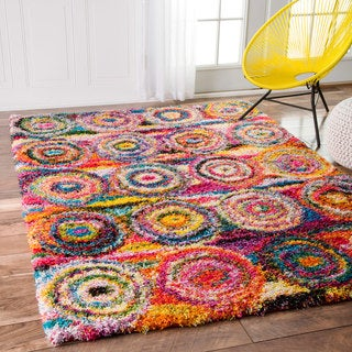nuLOOM Contemporary Abstract Circles Shag Multi Rug (8' x 10')