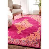 nuLOOM Handmade Wool Persian Medallion Pink Rug - 5' x 8'
