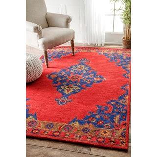 nuLOOM Handmade Wool Persian Medallion Red Rug (7'6 x 9'6)