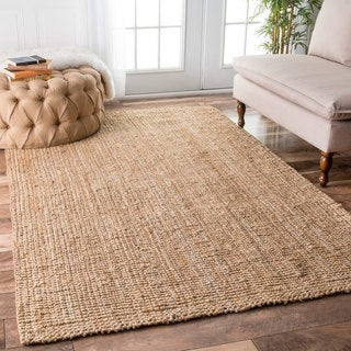 nuLOOM Hand-woven Natural Fiber Jute Sisal Ribbed Solid Natural Rug (7'6 x 9'6)