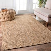Havenside Home Pensacola Hand-woven Natural Fiber Jute Sisal Ribbed Solid Natural Area Rug (7'6 x 9'6)
