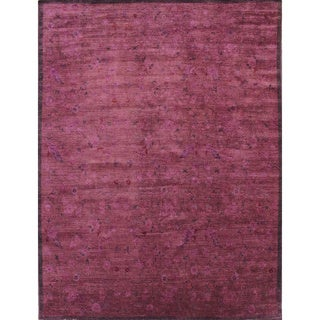 Overdyed Hadley Purple Hand-Knotted Rug (9'1 x 11'8)