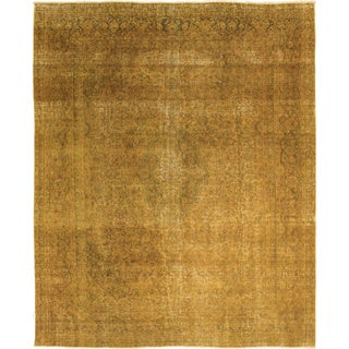 Distressed Everett Gold Hand-Knotted Rug (9'3 x 11'5)