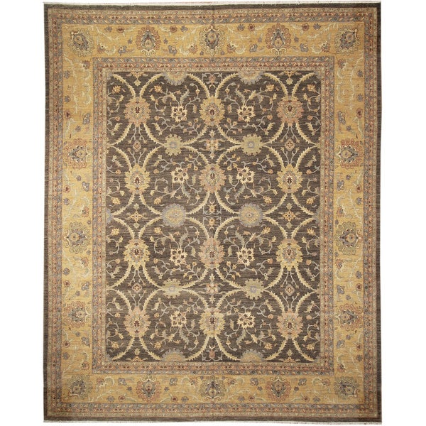 Peshawar Tucker Dark Green Hand-Knotted Rug (11'10 x 14'9)