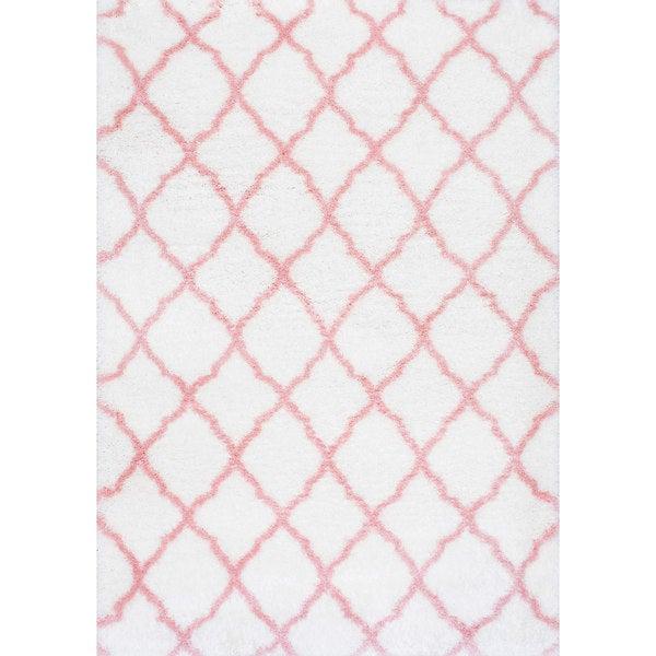 nuloom soft and plush cloudy shag trellis kids nursery baby pink