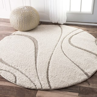 nuLOOM Soft and Plush Curves Ivory/ Beige Shag Rug (5' Round)