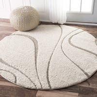 nuLOOM Soft and Plush Curves Ivory and Beige Round Shag Rug (5')