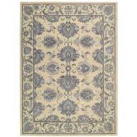 Sepia Beige Floral Area Rug by Nourison - 5'6 x 8'6