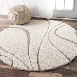 nuLOOM Soft and Plush Curves Ivory/ Beige Shag Rug (8' Round)