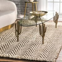 The Curated Nomad Brody Handmade Natural Fiber Jute Chevron Ivory Area Rug - 8'6 x 11'6