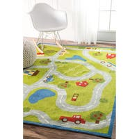 nuLOOM Contemporary Kids Country Road Trip Green Rug (8' x 10') - 8' x 10'