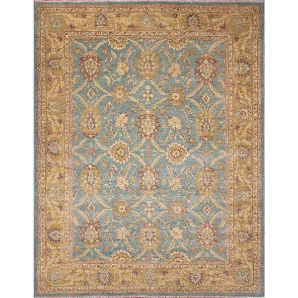 Peshawar Sherman Light Blue Hand-Knotted Rug (8'0 x 10'8)