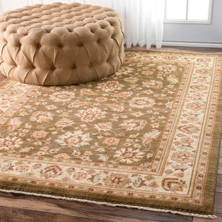 nuLOOM Traditional Persian Timeless Floral Olive Rug (2'7 x 4')